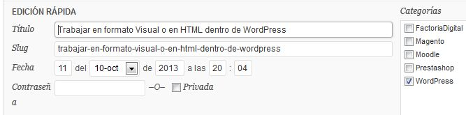 edicion rapida en WordPress