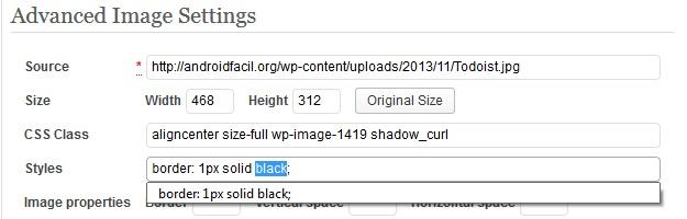 bordes de color en imagenes en WordPress