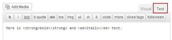 Modo Texto en WordPress