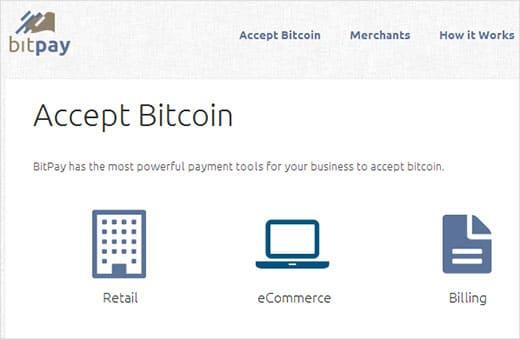 botón de BitCoin con un BitPay 01