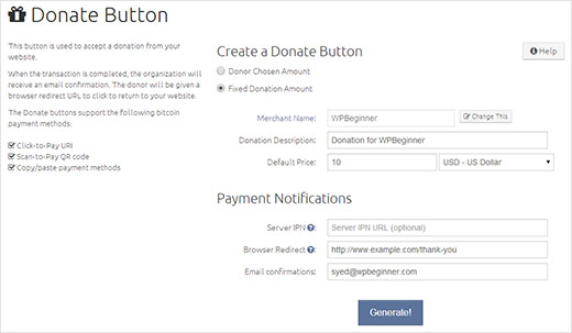 botón de BitCoin con un BitPay 03