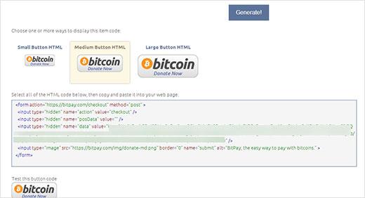 botón de BitCoin con un BitPay 04