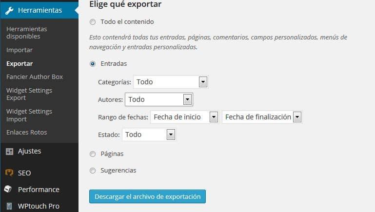 Copias de Seguridad en WordPress 03