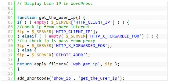 script para IP en WordPress