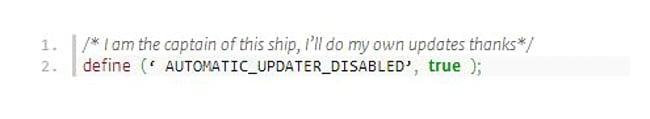 desactivar todas las actualizaiones en WordPress