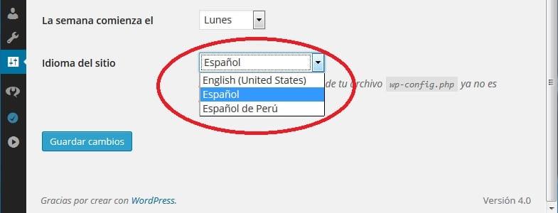04 instalar idiomas en WordPress 4.0