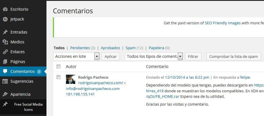 comentarios en WordPress