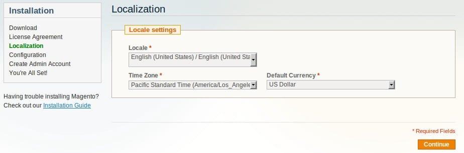 configurar localizacion en Magento