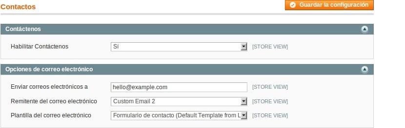 Configurar los contactos en Magento