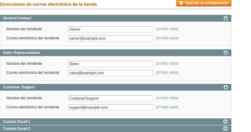 Direcciones de correos electronicos en la tienda online