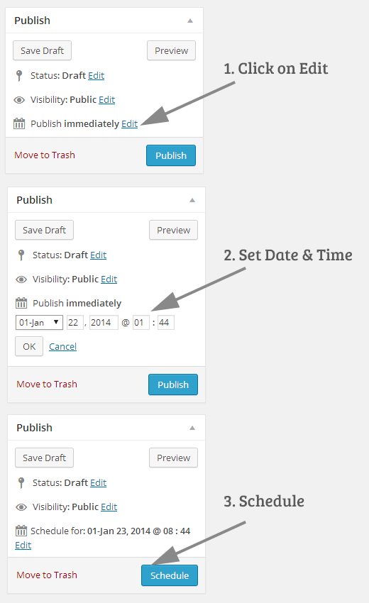 programar manualmente un post en WordPress
