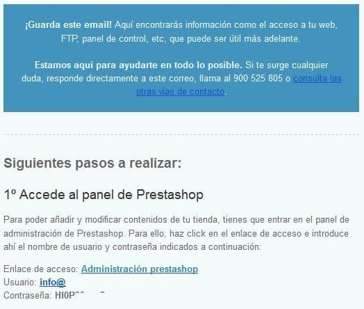 credenciales de acceso a tienda online Prestashop