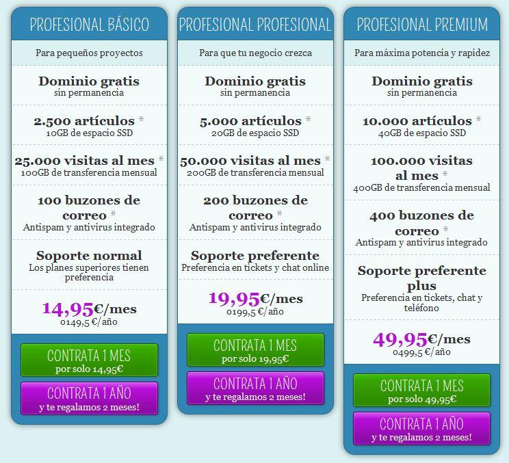 costos de webhosting de Factoria Digital