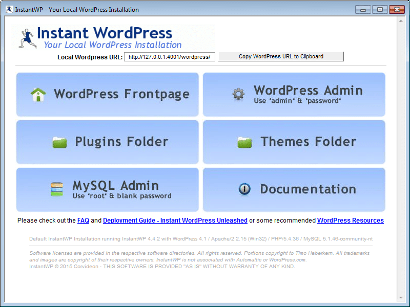 Instant WordPress 01