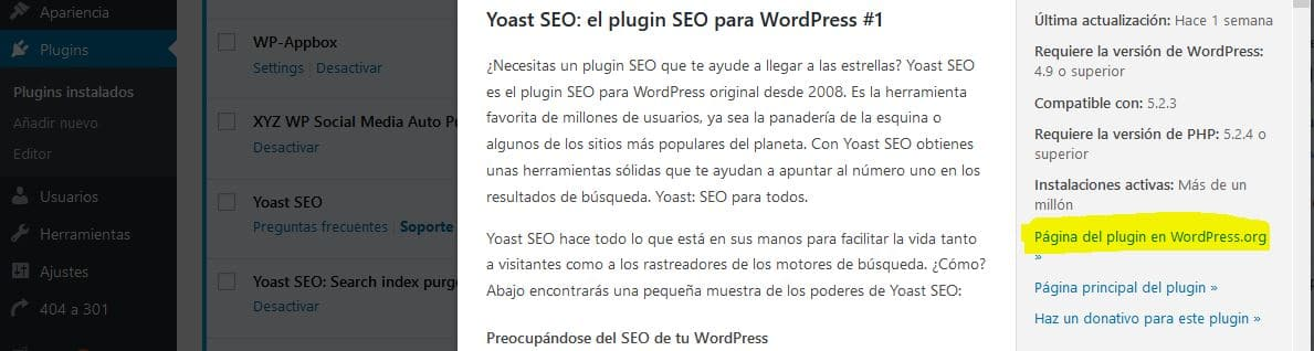 instalar plugins antiguos de WordPress
